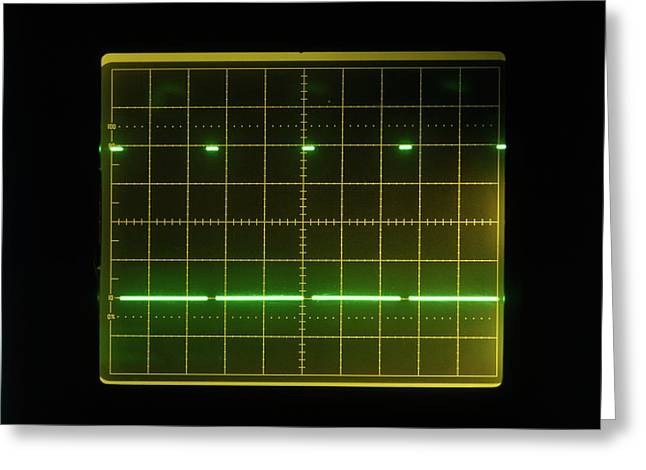 Pulses On Oscilloscope Screen Greeting Card by Dorling Kindersley/uig