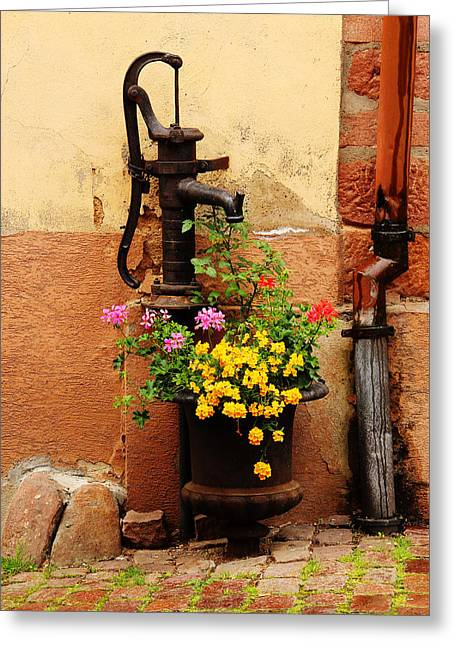 Pump And Flowers In Kaysersberg France Greeting Card by Greg Matchick