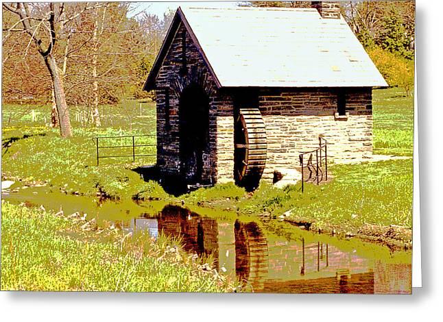 Pump House And Water Wheel In Autumn Digital Art Greeting Card by A Gurmankin