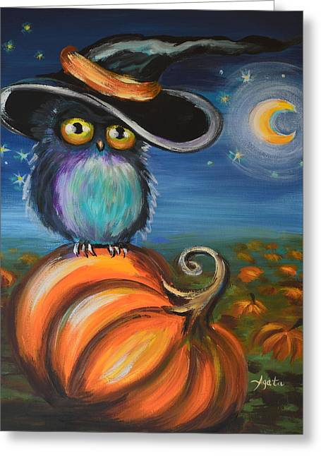 Greeting Card featuring the painting Owl Bewitch You by Agata Lindquist