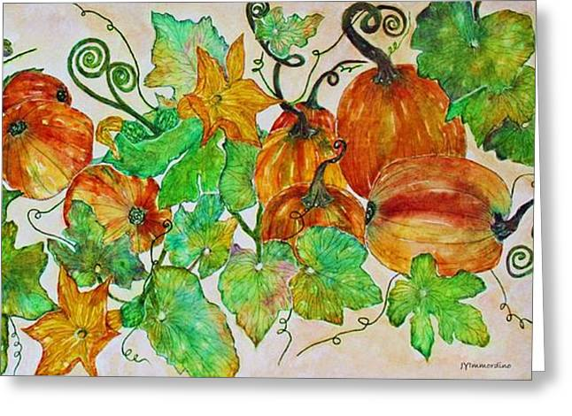Pumpkin Harvest Time Greeting Card by Janet Immordino