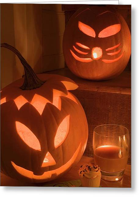 Pumpkin Lanterns, Cupcake And Drink For Halloween Greeting Card
