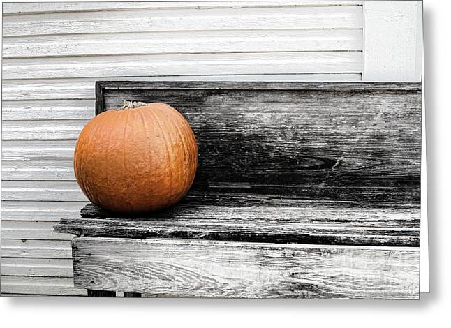 Pumpkin On A Bench Greeting Card by Audreen Gieger