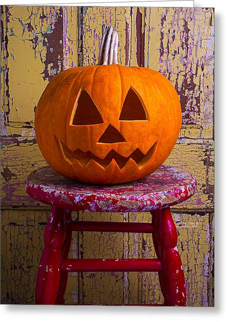 Pumpkin On Red Stool Greeting Card by Garry Gay