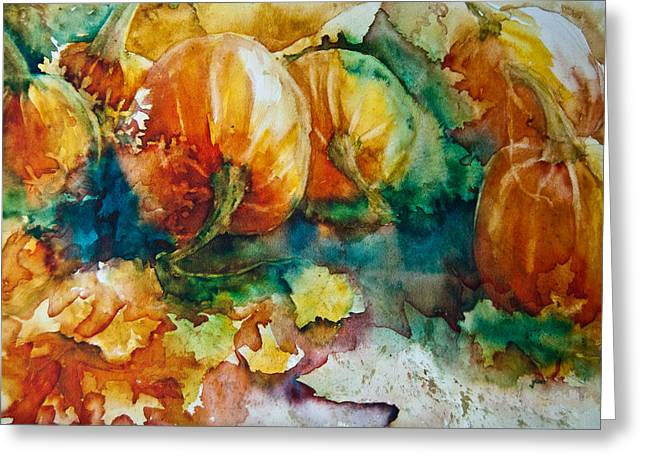 Pumpkin Patch Greeting Card by Jani Freimann