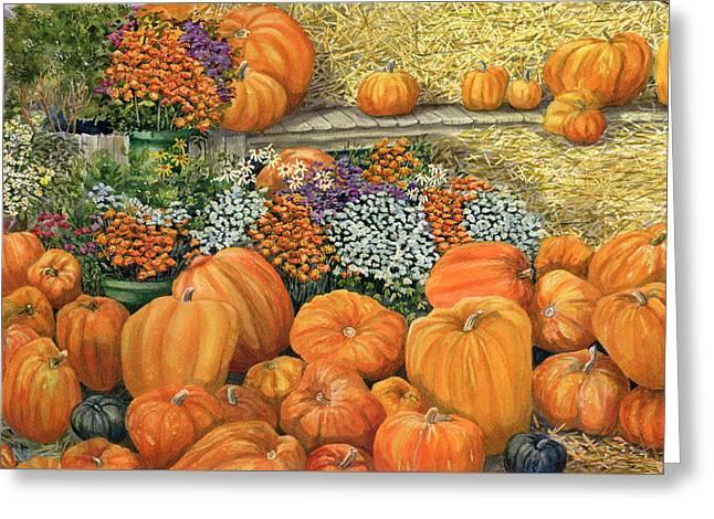 Pumpkin Patch Greeting Card by Karen Wright