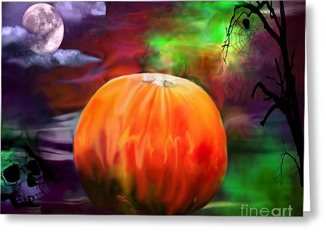 Pumpkin Skull Spider And Moon Halloween Art Greeting Card