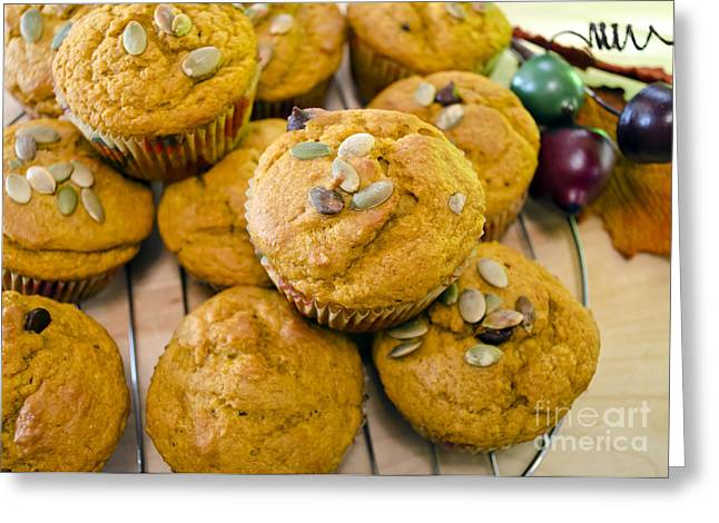 Greeting Card featuring the photograph Pumpkin Spice Muffins For Fall by Maria Janicki
