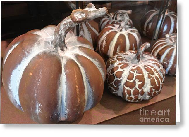 Pumpkins And Gourds Fall Autumn Brown White Pumpkins - Colors Of Autumn Greeting Card by Kathy Fornal