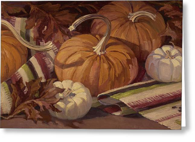 Pumpkins And Leaves Greeting Card