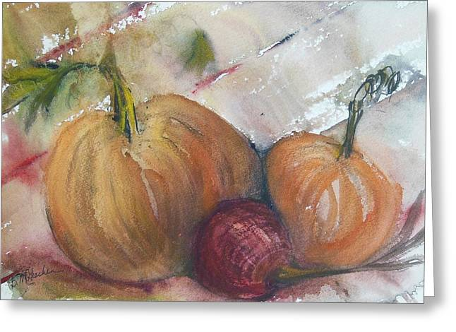 Pumpkins And Onion Greeting Card by Barbara McGeachen