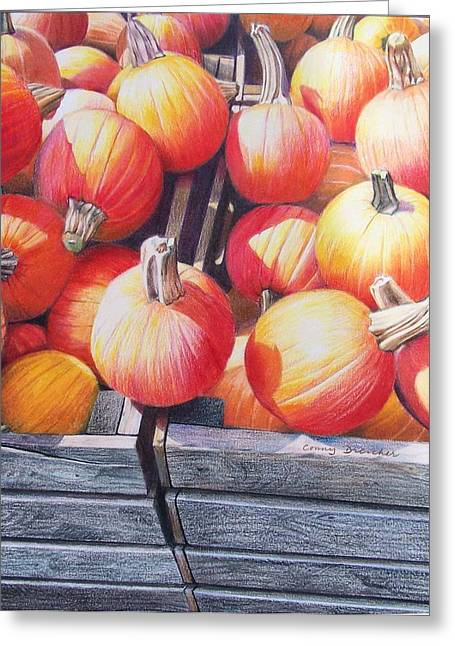 Greeting Card featuring the painting Pumpkins by Constance Drescher