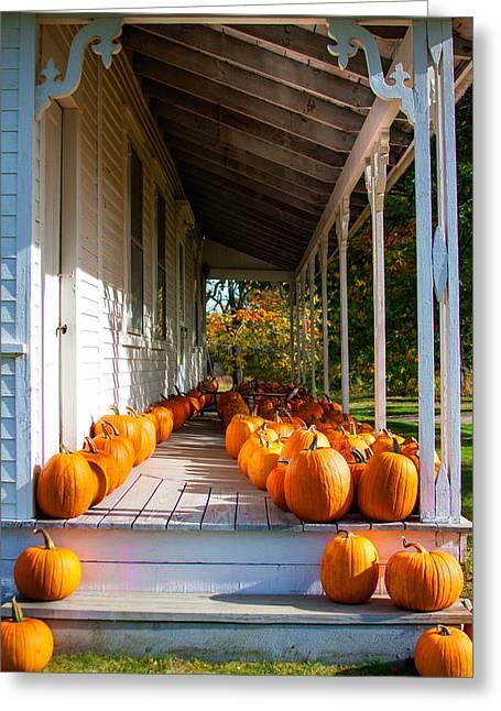 Pumpkins On A Porch Greeting Card by Karen Stephenson