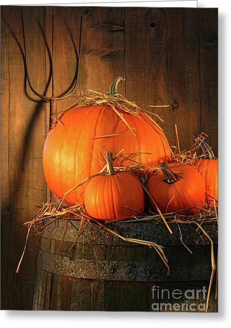 Pumpkins On Wine Barrel  Greeting Card by Sandra Cunningham