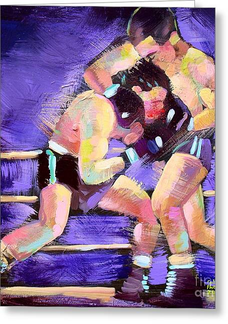 Greeting Card featuring the painting Punch Out by Robert Phelps