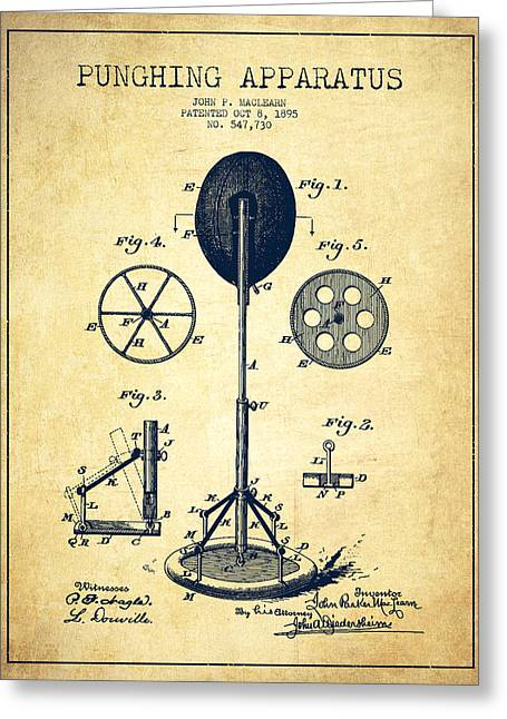 Punching Apparatus Patent Drawing From 1895 -vintage Greeting Card