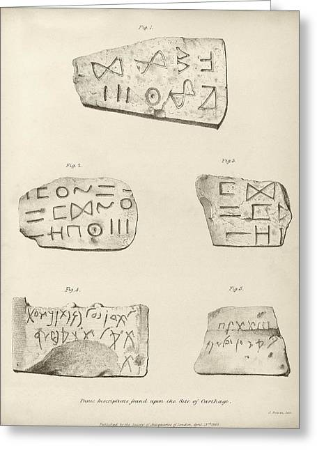 Punic Inscriptions From Carthage Greeting Card