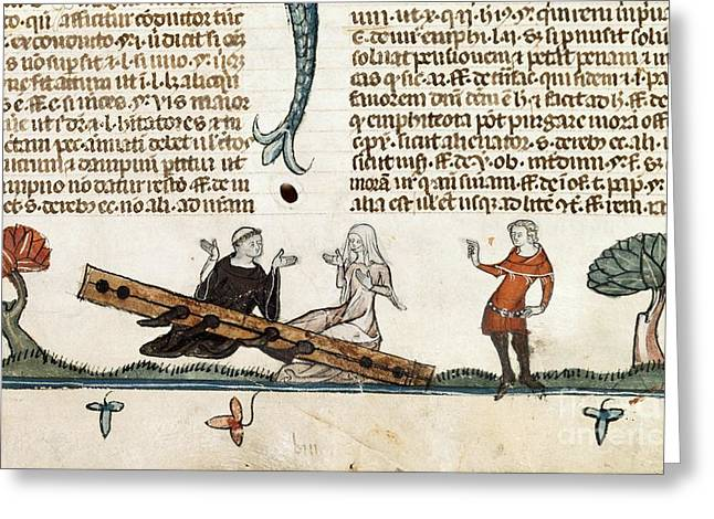 Punishment By Stocks, 14th Century Greeting Card by British Library