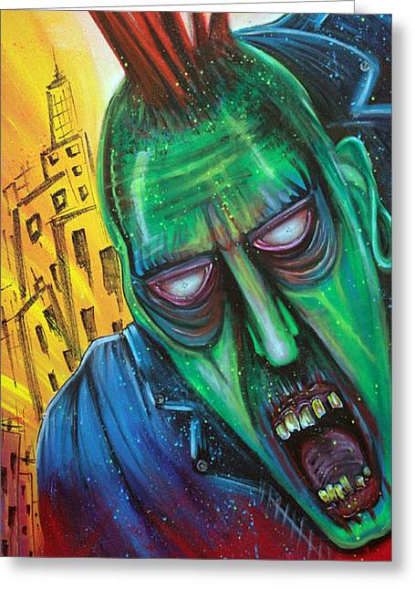Punk Rock Zombie Greeting Card by Laura Barbosa