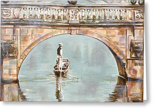 Punting On River Cam Under Clare Bridge Greeting Card by Leigh Banks