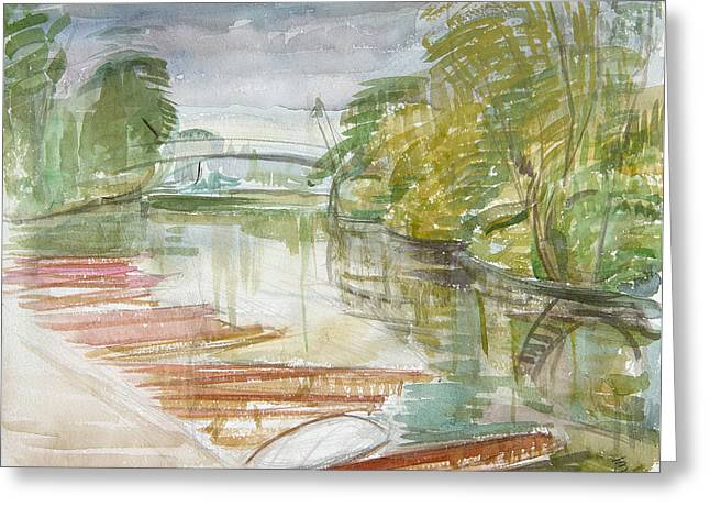 Punts On The Cherwell Wc On Paper Greeting Card by Erin Townsend