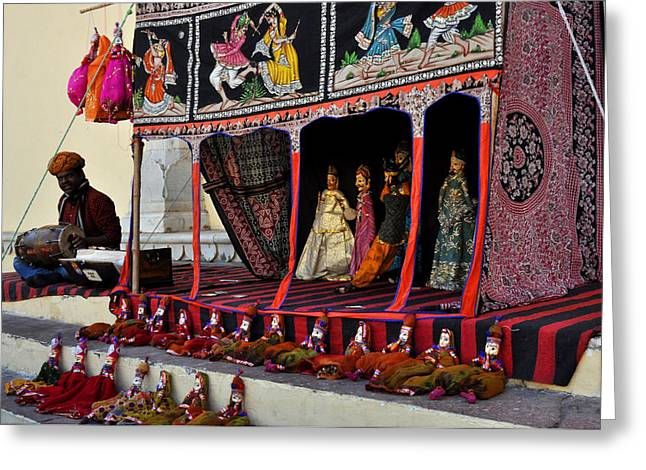 Puppet Show City Palace Jaipur India Greeting Card by Diane Lent