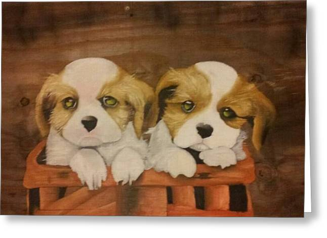 Puppies In A Basket Greeting Card by Terrence Lewis