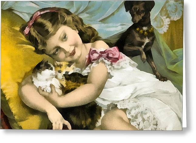 Puppies Kittens And Baby Girl Greeting Card by Vintage Trading Cards