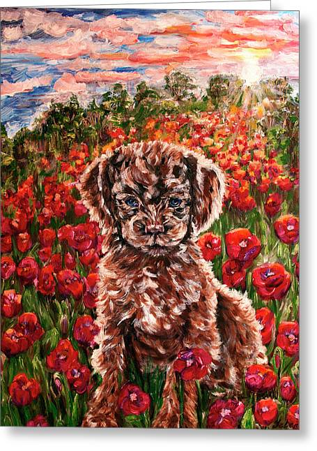 Puppy And Poppies Greeting Card
