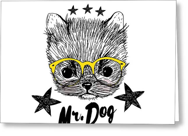 Puppy And Yellow Glasses Illustration Greeting Card by Shekaka