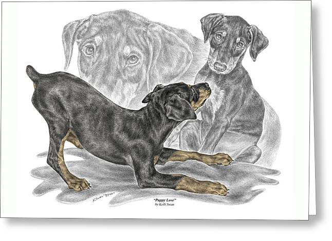 Puppy Love - Doberman Pinscher Pup - Color Tinted Greeting Card by Kelli Swan