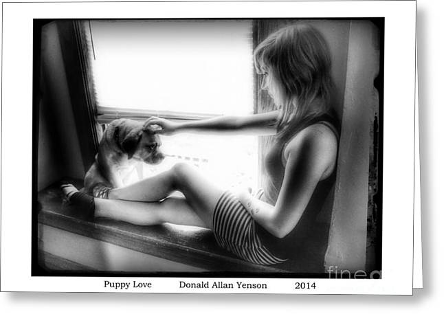 Puppy Love Greeting Card by Donald Yenson