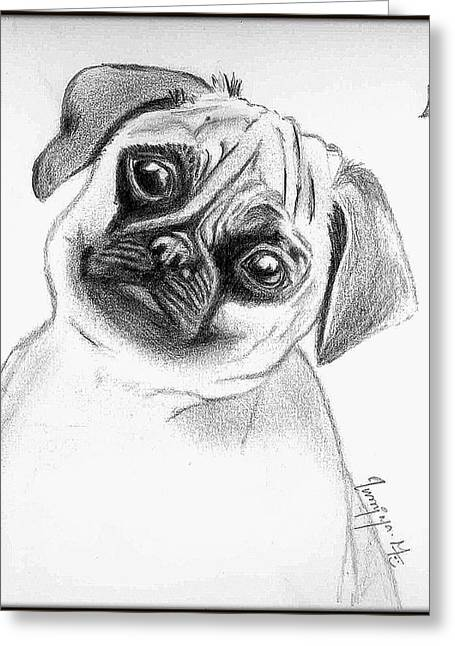 Puppy  Greeting Card by Poornima M