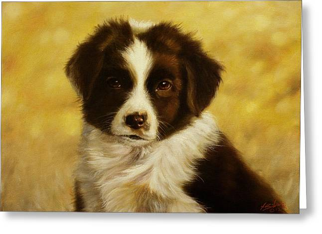 Puppy Portrait Greeting Card by John Silver