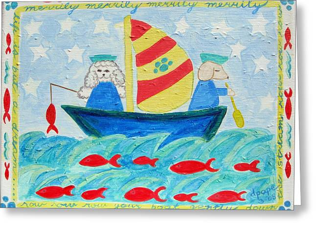 Puppy Sailors Greeting Card by Diane Pape