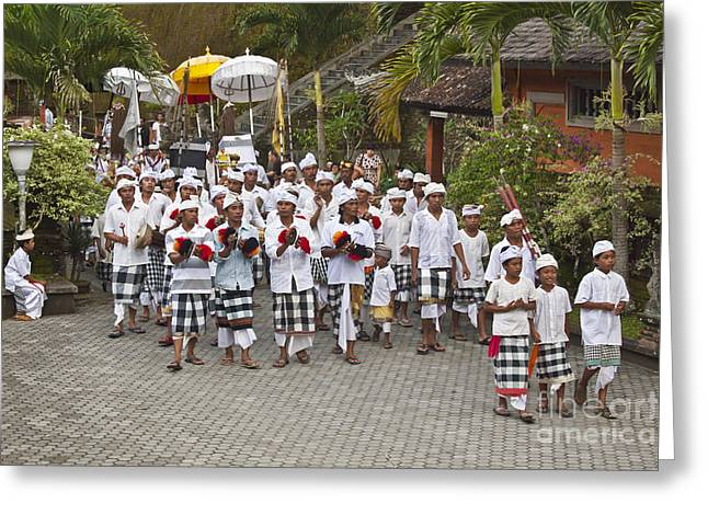 Pura Tirta Empul During Galungan Festival Greeting Card by Craig Lovell