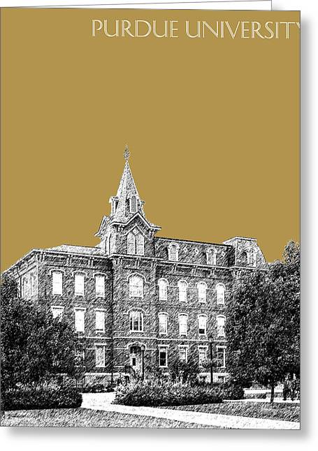 Purdue University - University Hall - Brass Greeting Card by DB Artist