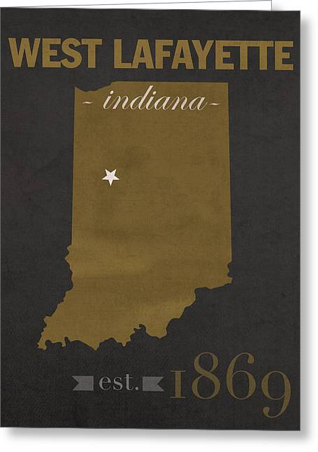 Purdue University Boilermakers West Lafayette Indiana College Town State Map Poster Series No 090 Greeting Card