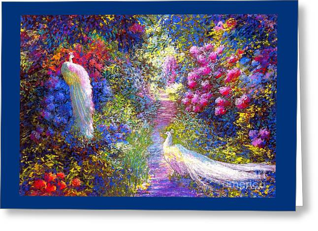 White Peacocks, Pure Bliss Greeting Card