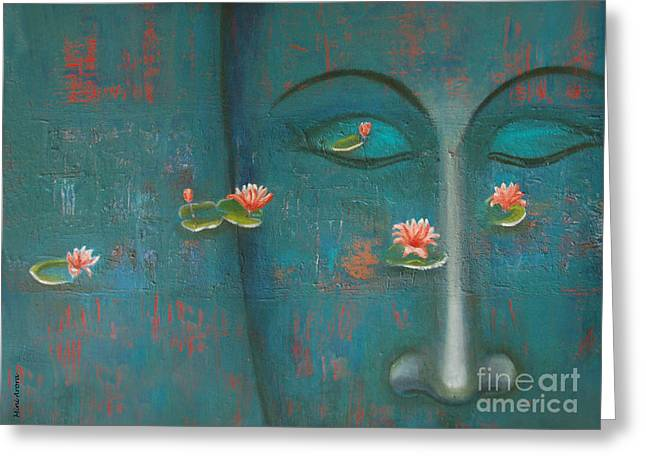 Greeting Card featuring the painting Pure Thoughts by Mini Arora