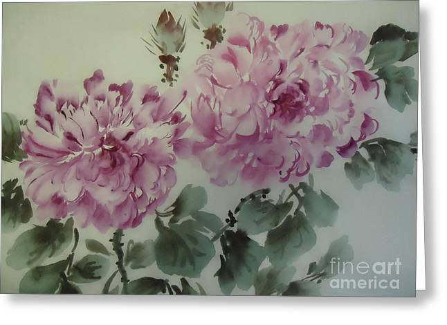 Greeting Card featuring the painting Purle Flower427012-10 by Dongling Sun