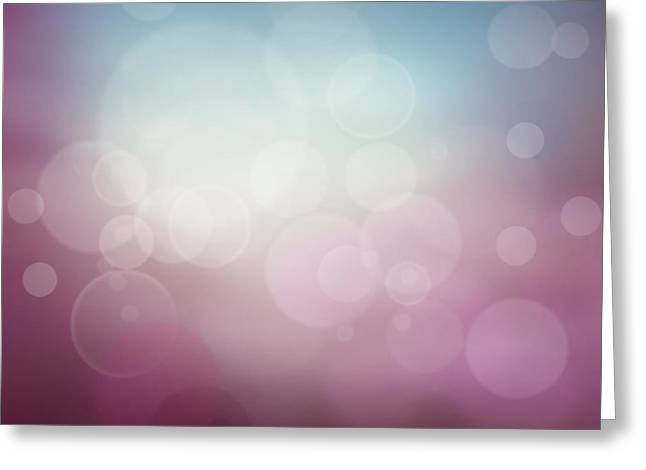 Purple Abstract Bokeh Background  Greeting Card by Mythja  Photography