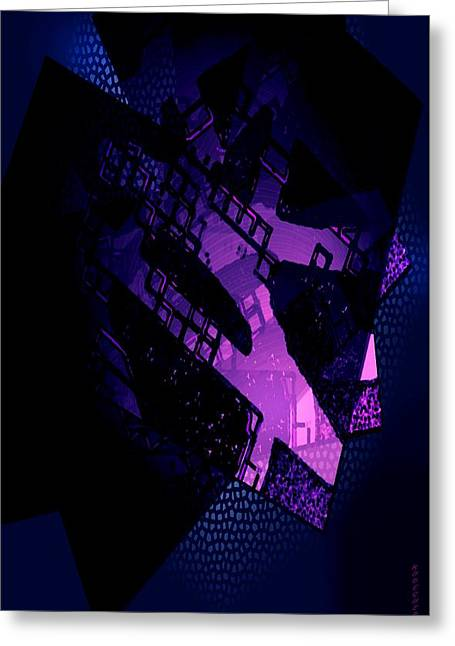 Purple Abstract Geometric Greeting Card by Mario Perez