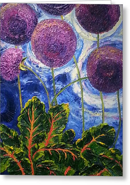 Purple Alliums And Swiss Chard Greeting Card by Paris Wyatt Llanso