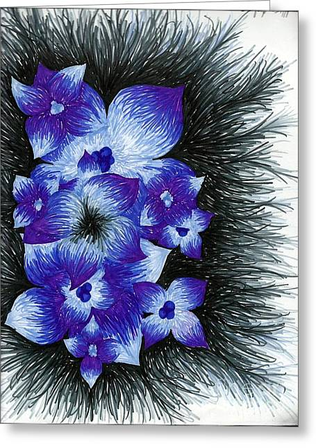 Purple Greeting Card by Allyson Andrewz
