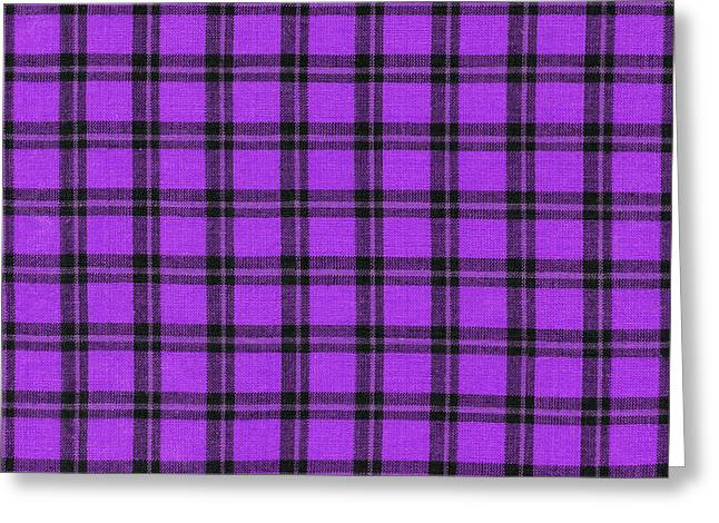 Purple And Black Plaid Textile Background Greeting Card by Keith Webber Jr