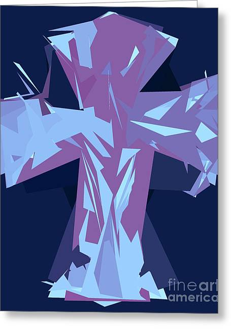 Purple And Blue Abstract Cross Design Pattern Greeting Card by Minding My Visions by Adri and Ray