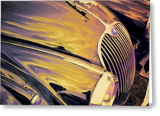 Purple And Gold Antique Jaguar - Square Greeting Card by Lyn Voytershark