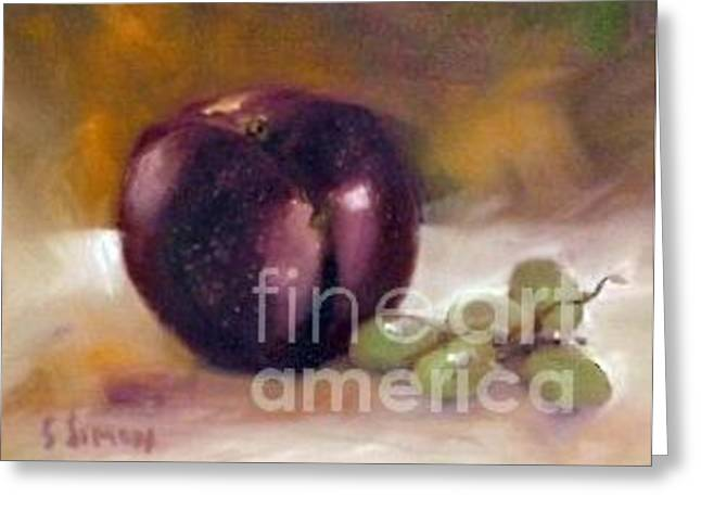 Greeting Card featuring the painting Purple And Grapes by Sally Simon