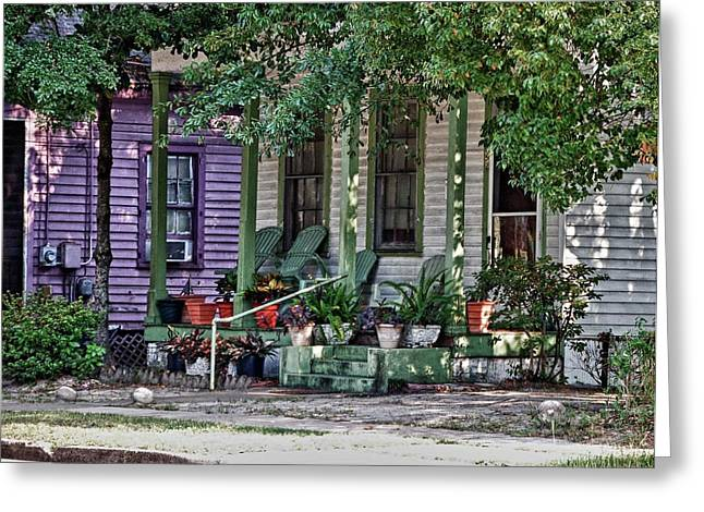 Purple And Green House  Greeting Card by Michael Thomas